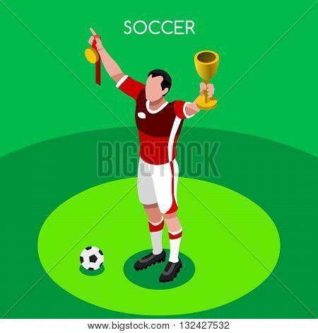 Soccer Winner Player Athlete Summer Games Icon Set.3D Isometric Soccer Winer Team Players.Sporting International Competition.Sport Soccer Infographic Football Vector Illustration.