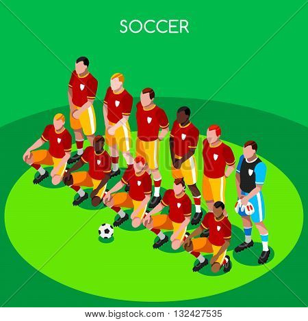 Soccer Team Players Athlete Summer Games Icon Set.3D Isometric Soccer Match Team Players.Sporting International Competition Championship.Sport Soccer Infographic Football Vector Illustration.