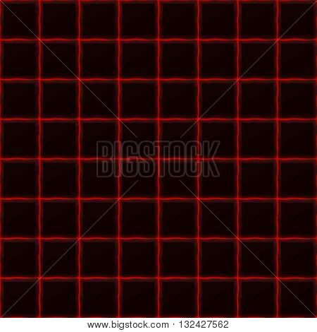 Squares of black stone with red streaks of energy. Seamless vector texture. Technology seamless pattern. Vector geometric dark background.
