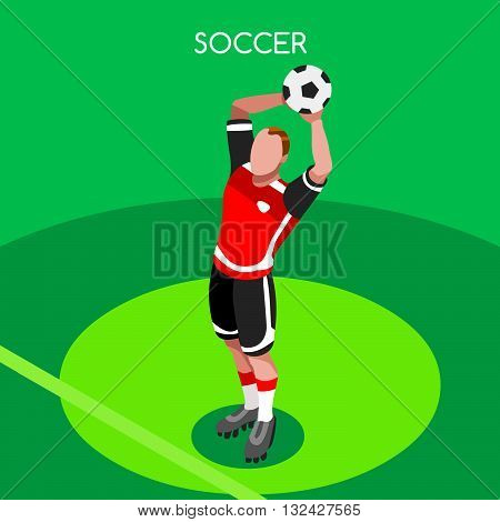 Soccer Throw Player Athlete Summer Games Icon Set.3D Isometric Field Soccer Match and Players.Sporting International Competition Championship.Sport Soccer Infographic Football Vector Illustration.