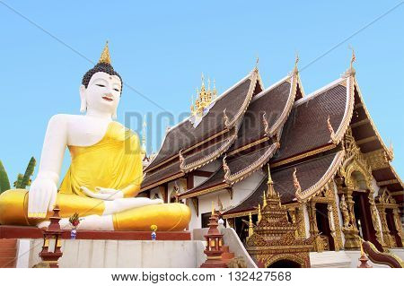 Temple in thailand with blue background for dicut