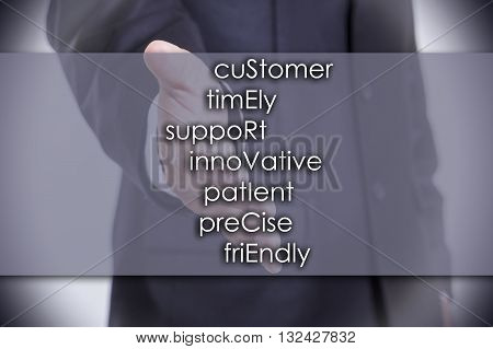 Customer Timely Support Innovative Patient Precise Friendly Service - Business Concept With Text