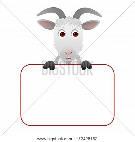 Clipart picture of a goat cartoon character holding a blank board.