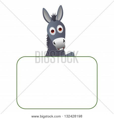 Clipart picture of a donkey cartoon character holding a blank board.
