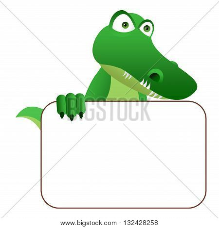 Clipart picture of a crocodile cartoon character holding a blank board.