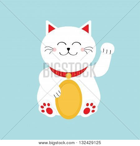 Lucky white cat sitting and holding golden coin. Japanese Maneki Neco cat waving hand paw icon. Feng shui Success wealth symbol mascot Cute cartoon character Greeting card Flat Blue background. Vector poster