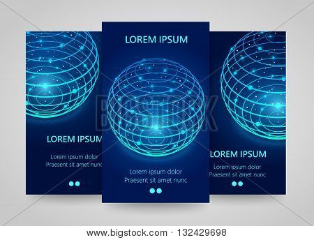 Modern network vertical banners, Global sphere sign, 3d neon sphere, Planet flyer set. global network infographics. Vector illustration