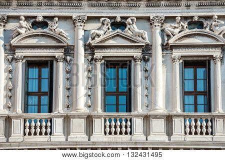 Facade Of White Doge's Palace In Venice