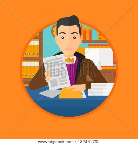 A human resources manager reading application portfolios in the office. Vector flat design illustration in the circle isolated on background.