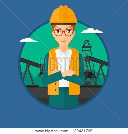 An oil worker in uniform and helmet. Oil worker standing with crossed arms on pump jack background. Vector flat design illustration in the circle isolated on background.