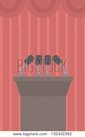 Background of tribune speech with microphones vector flat design illustration. Vertical layout.