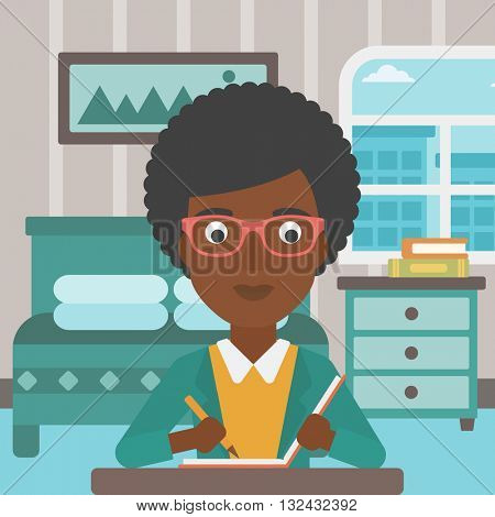 An african-american reporter sitting at the table and writing an article in writing-pad on the background of bedroom vector flat design illustration. Square layout.