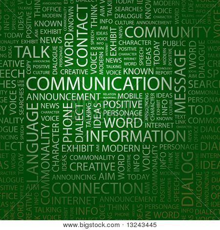 COMUNICAÇÃO. Colagem de palavra. Ilustração com termos de associação diferente.