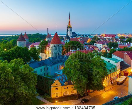 Cityscape Of Old Town Tallinn At Dusk, Estonia