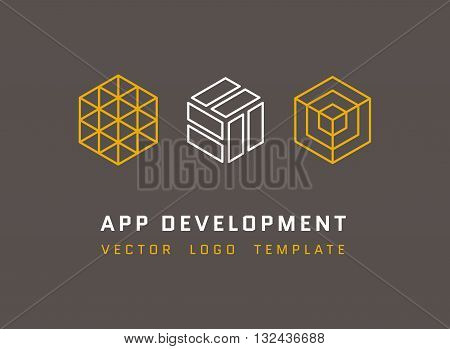 Technology, development, architecture, game studio vector logos set in line style. App development logo, company development app, isometric logo app development illustration