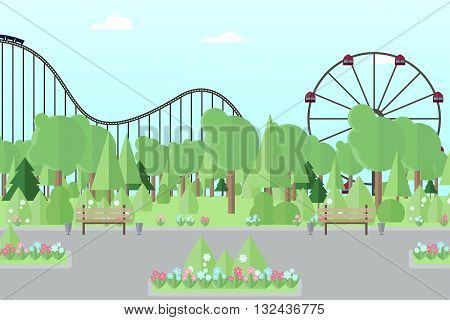 City park amusement park park for recreation flat park park vector park