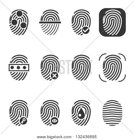 Fingerprint vector icons. Fingerprint icon, identity fingerprint or thumbprint, security biometric fingerprint illustration