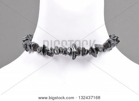 Splintered Hematite Chain On Bust