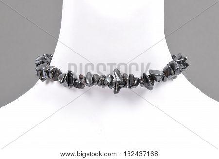 Splintered Hematite Chain On Bust