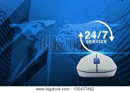 Wireless computer mouse with button 24 hours service icon over map and city tower background Full time service concept Elements of this image furnished by NASA