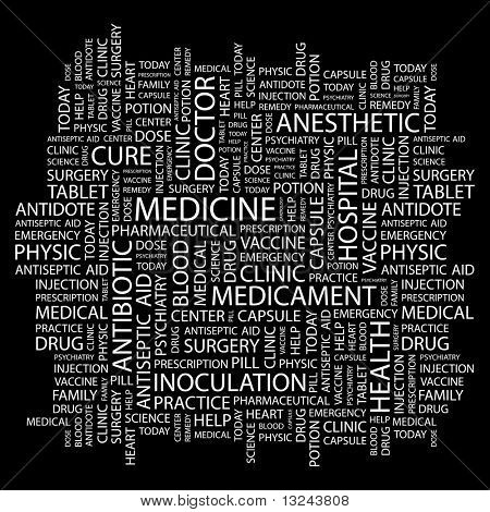 MEDICINE. Word collage on black background. Illustration with different association terms.