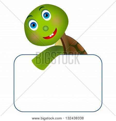 Clipart picture of a turtle cartoon character holding a blank board.
