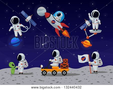 Astronauts vector characters set in flat cartoon style. Astronaut cartoon, character astronaut, person astronaut, human spaceman illustration