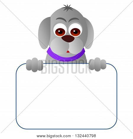 Clipart picture of a dog cartoon character holding a blank board.