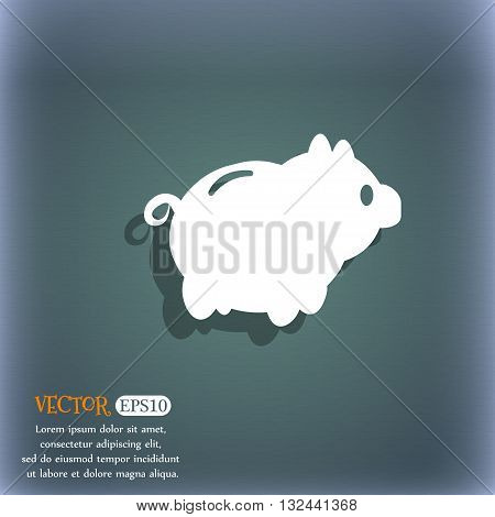 Piggy Bank Icon. On The Blue-green Abstract Background With Shadow And Space For Your Text. Vector