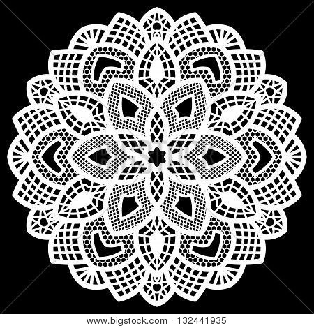 Lace round paper doily lacy snowflake greeting element package doily - a template for cutting lace pattern decorative flower vector illustrations