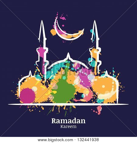 Ramadan Kareem Greeting Card With Watercolor Night Illustration Of Mosque And Moon. Vector Ramadan H