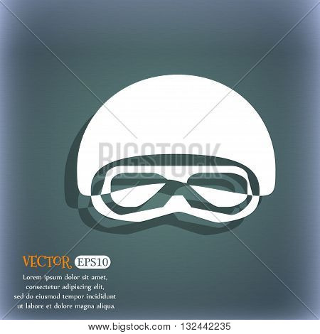 In A Ski Masks, Snowboard Ski Goggles, Diving Mask Icon. On The Blue-green Abstract Background With