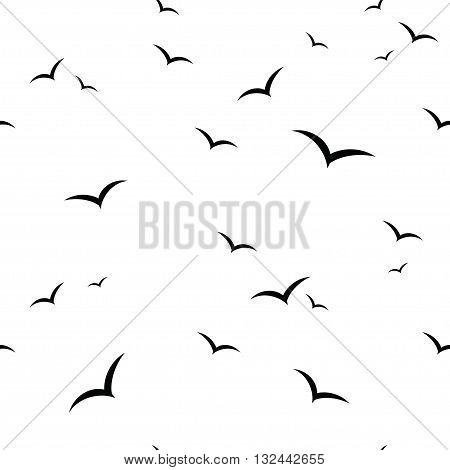 Birds. Vector black and white seamless pattern.