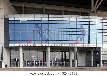 Lyon, France - March 21, 2016: Facade and entrance of the Parc Olympique stadium in Lyon, France. The Parc Olympique is a 60000 seat stadium for French football club Olympique Lyonnais and Euro 2016