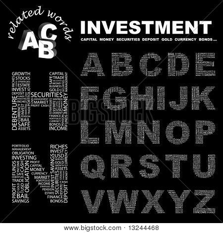 INVESTMENT. Vector letter collection. Illustration with different association terms.