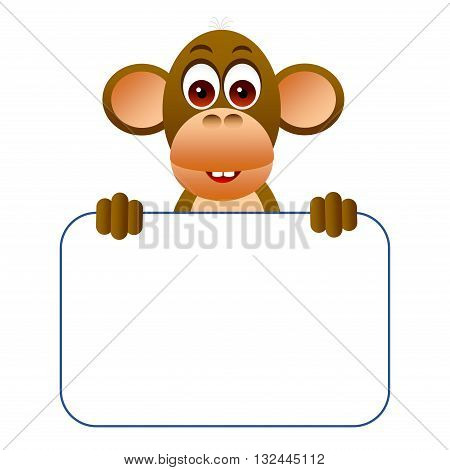 Clipart picture of a monkey cartoon character holding a blank board.