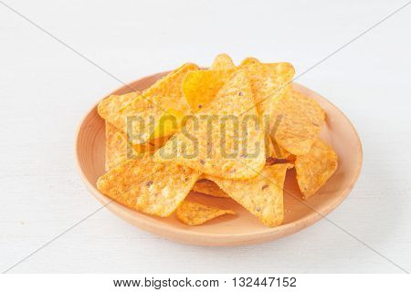 Tortilla chip a snack food made from corn tortillas