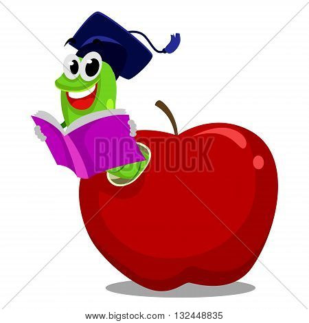 Vector Illustration of Worm inside the Apple reading book wearing graduation hat
