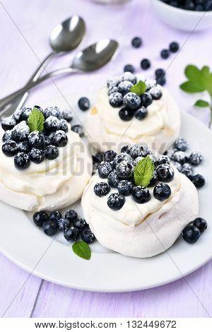 Blueberry pavlova fruit meringue cakes on plate