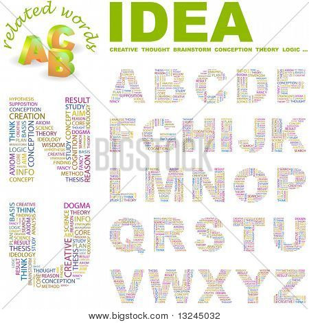 IDEA. Vector letter collection. Wordcloud illustration.