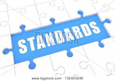 Standards - puzzle 3d render illustration with word on blue background
