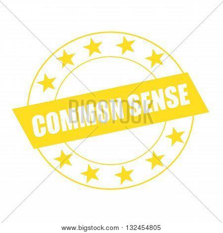 COMMON SENSE white wording on yellow Rectangle and Circle yellow stars