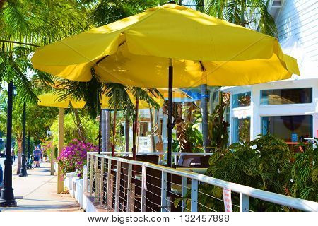 Outdoor seating with umbrellas to create shade at a café surrounded with tropical plants