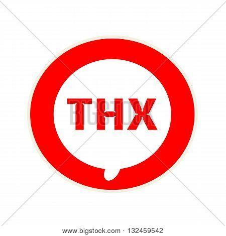 Thx red wording on Circular white speech bubble