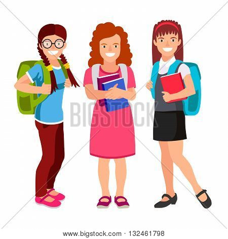 Three schoolgirls with backpacks and textbooks. The concept of school education. Vector illustration on white background. Back to school.