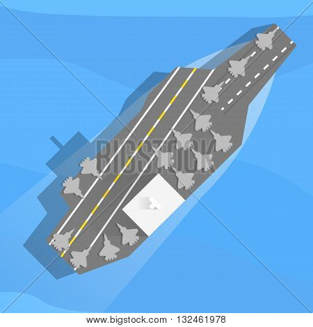 Aircraft carrier with planes on board. Top view, flat. Vector, eps10.