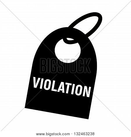 VIOLATION white wording on background black key chain