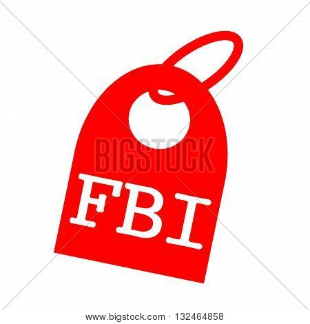 FBI white wording on background red key chain