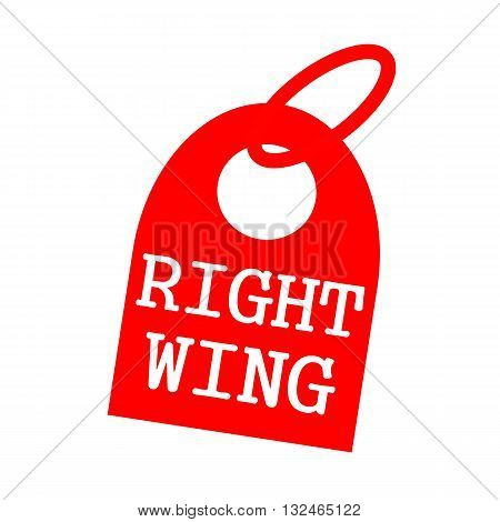 RIGHT WING white wording on background red key chain