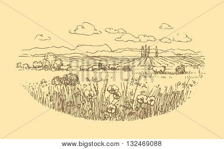 Vector hand drawn rural landscape with cows. Illustration for farm products design.
